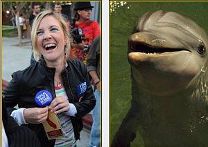 Дрю Бэрримор  нашла понимающего... дельфина