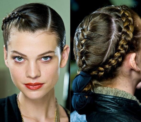 Заплетение косичек волос средней длины.